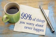 el 99% de cosas que nos estamos preocupando alrededor Imagen de archivo libre de regalías