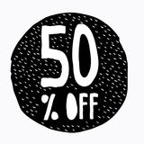 el 50% de descuento Ejemplo del precio de oferta del descuento Símbolo dibujado mano del descuento del vector Fotos de archivo libres de regalías