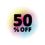el 50% de descuento Símbolo del vector de la venta ejemplo abstracto del vector Círculo de semitono del arco iris hecho de puntos Imagen de archivo