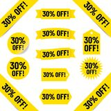 el 30% de etiquetas de las ventas Fotografía de archivo libre de regalías