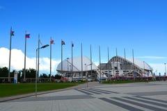 El ` de Fisht del ` del estadio de fútbol, adornado con los símbolos de las confederaciones de la FIFA ahueca 2017 Fotografía de archivo libre de regalías
