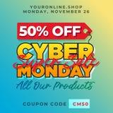 el 50% de fondo cibernético de la promoción de lunes Plantilla en línea del vector de la bandera del descuento de la tienda de la Foto de archivo libre de regalías