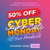 el 50% de fondo cibernético de la promoción de lunes Plantilla en línea del vector de la bandera del descuento de la tienda de la Foto de archivo