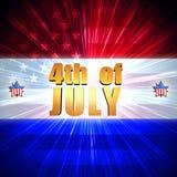 el 4 de julio con la bandera americana y las estrellas brillantes Foto de archivo
