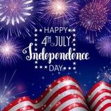 el 4 de julio, fondo americano de la celebración del Día de la Independencia con los fuegos artificiales del fuego Enhorabuena en Fotos de archivo libres de regalías