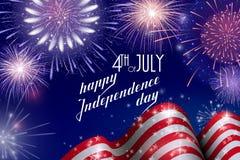 el 4 de julio, fondo americano de la celebración del Día de la Independencia con los fuegos artificiales del fuego Enhorabuena en Foto de archivo libre de regalías