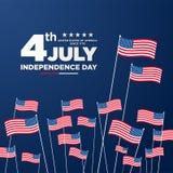 el 4 de julio, saludo indicado unido del Día de la Independencia Cuarto de julio en diseño azul del fondo Usable como tarjeta de  stock de ilustración