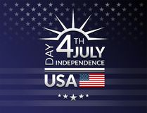el 4 de julio, tipografía de los saludos del Día de la Independencia de los E.E.U.U. Cuarto o libre illustration