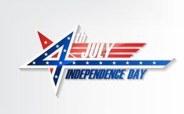 el 4 de julio, unido Día de la Independencia indicado, día nacional americano en bandera de los E.E.U.U., ejemplo del vector Fotos de archivo libres de regalías