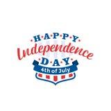 el 4 de julio Vector feliz del Día de la Independencia Cuarto del diseño del saludo de julio Imagenes de archivo