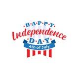 el 4 de julio Vector feliz del Día de la Independencia Cuarto del diseño del saludo de julio Imagen de archivo libre de regalías