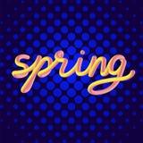 El ` de la primavera del ` de la palabra en un fondo decorativo brillante Imagen de archivo