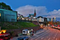 El ¼ de Landungsbrà cken en la noche Fotografía de archivo libre de regalías