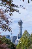2015, el 10 de noviembre - Osaka City, torre de reloj de Tsutenkaku Fotos de archivo