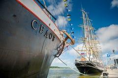 El ` de Sedov del ` del buque atraca en Klaipeda durante las razas altas 2017 de la nave Fotografía de archivo libre de regalías