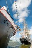 El ` de Sedov del ` del buque atraca en Klaipeda durante las razas altas 2017 de la nave Fotografía de archivo