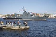 El ` de Urengoy del ` de la nave en el festival en honor del día de la victoria St Petersburg Fotografía de archivo