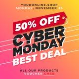el 50% de vector cibernético de la venta de lunes Diseño en línea del fondo de la promoción de la tienda del mejor trato Fotos de archivo