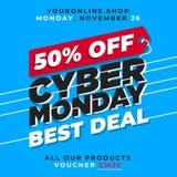el 50% de venta cibernética de la bandera de lunes Plantilla en línea del fondo de la promoción de la tienda del mejor trato Fotografía de archivo