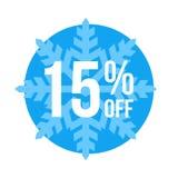 El 15% de venta del invierno de la etiqueta engomada Foto de archivo libre de regalías