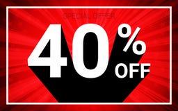 El 40% de venta El texto blanco del color 3D y la sombra negra en fondo de la explosión del rojo diseñan libre illustration