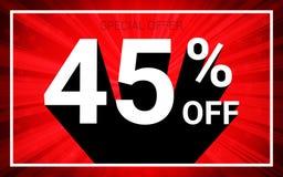 El 45% de venta El texto blanco del color 3D y la sombra negra en fondo de la explosión del rojo diseñan ilustración del vector