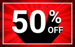 el 50% de venta El texto blanco del color 3D y la sombra negra en fondo de la explosión del rojo diseñan libre illustration