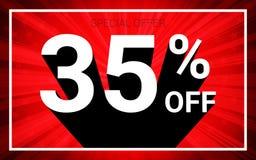 El 35% de venta El texto blanco del color 3D y la sombra negra en fondo de la explosión del rojo diseñan stock de ilustración