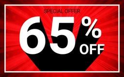 El 65% de venta El texto blanco del color 3D y la sombra negra en fondo de la explosión del rojo diseñan stock de ilustración