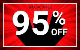 El 95% de venta El texto blanco del color 3D y la sombra negra en fondo de la explosión del rojo diseñan stock de ilustración