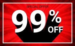 El 99% de venta El texto blanco del color 3D y la sombra negra en fondo de la explosión del rojo diseñan ilustración del vector