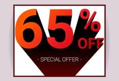 El 65% de venta El texto del color rojo 3D y la sombra negra en el fondo blanco diseñan stock de ilustración