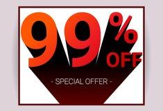 El 99% de venta El texto del color rojo 3D y la sombra negra en el fondo blanco diseñan stock de ilustración
