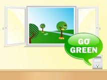 El decir del enchufe eléctrico va verde Imagen de archivo
