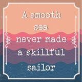 El decir inglés de la motivación Citas que animan Un mar liso stock de ilustración