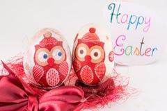 El decoupage del búho adornó los huevos de Pascua Foto de archivo libre de regalías