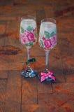 El decoupage del vintage adornó las copas Imagen de archivo libre de regalías