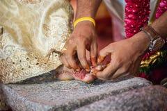 El dedo del pie que lleva suena en una boda hindú del Tamil Imágenes de archivo libres de regalías