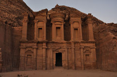 El Deir (The Monastery). The Monastery, Petra's largest monument, dates from the 1st century BCE. It was dedicated to Obodas I and is believed to be the Royalty Free Stock Photo