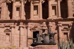 El Deir Monastry. Pots and pans at El Deir monastry at Petra, Jordan Stock Photos