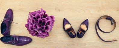 El ` del amor del ` de la inscripción de los accesorios púrpuras Imagen de archivo
