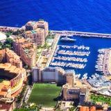 El ` del casquillo d aflige el puerto y el estadio Foto de archivo