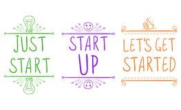 El ` del comienzo del ` apenas, ` comienza para arriba el `, ` dejó el ` s consigue comenzado ` Frases de motivación con los elem Foto de archivo