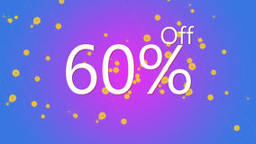 el 60% del ejemplo gráfico de la oferta promocional de la venta en fondo púrpura y azul del color stock de ilustración