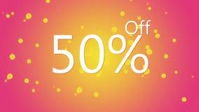 el 50% del ejemplo gráfico de la oferta promocional de la venta en fondo rosado y anaranjado del color stock de ilustración