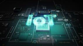 El ` del ` IOT del error tipográfico del holograma en el circuito de microprocesador de la CPU, crece tecnología de inteligencia  stock de ilustración