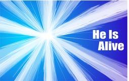 El ` del mensaje de Pascua él es ` vivo que estalla a través de un cielo azul imagen de archivo libre de regalías