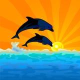 El delfín salta con el fondo de la puesta del sol ilustración del vector