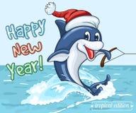 El delfín sonriente en el casquillo de Santa Claus monta en su cola como en los esquíes acuáticos Imagen de archivo