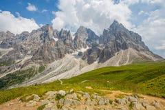 El delle también llamado de Gruppo del ` de Pale di San Martino ` pálido es el grupo más grande de dolomías, con el ² de cerca de imagen de archivo libre de regalías